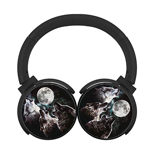 3 Wolf Moon Customized Wireless Retractable Bluetooth Headphones Headsets Over Ear for Kids Or Adults Black