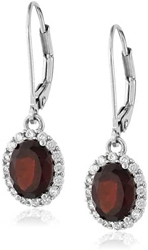 Sterling Silver Gem Halo Leverback Earrings