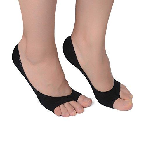 Black Peep Toe Heels (Flammi 3 Pairs Women's Summer Peep Toe Socks Hidden Socks with Non-slip Heel Grip (Black))