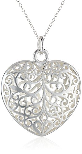 Filigree Puffed Heart (Sterling Silver Filigree Puffed Heart Pendant Necklace, 18