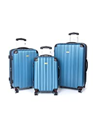 "Via Rail 'Maritime' 19"", 24"" & 28"" 3-Piece Expandable/Upright Spinner Suitcase Set (Blue)"
