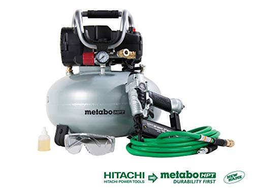 Metabo HPT KNT50AB Brad Nailer & Portable Air Compressor Combo Kit, 6-Gallon Oil-Free Pancake Air Compressor, NT50AE2 18-Gauge Brad Nailer, Includes 25 Ft x 1/4-Inch Hybrid Air Hose