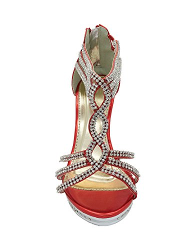 Wedding Sandals Ankle Heel Platform Womens Strap High Size Diamante Bridal Shoes Red Xxq74qw0A8