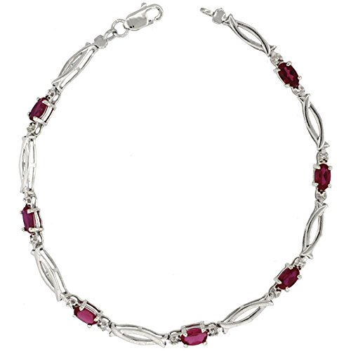 (10k White Gold Christian Fish Tennis Bracelet 0.05 ct Diamonds & 1.75 ct Oval Created Ruby, 1/8 inch wide )