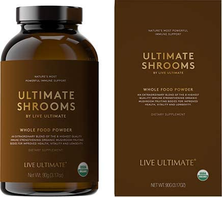 Live Ultimate Shrooms USDA Certified Whole Food Mushroom Extract Powder