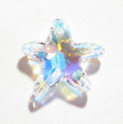 (1 pc Swarovski Crystal 6721 Starfish Charm Pendant Clear AB 20mm / Findings / Crystallized)