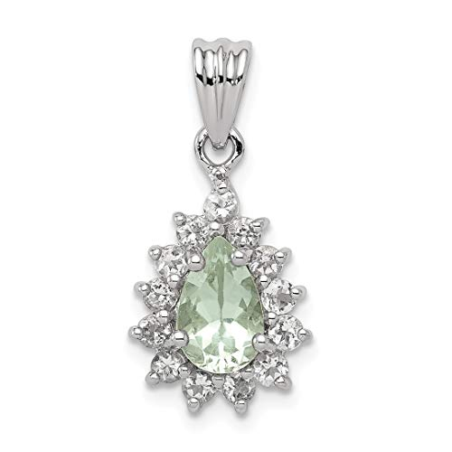 925 Sterling Silver Green Quartz Pendant Charm Necklace Gemstone Fine Jewelry Gifts For Women For Her