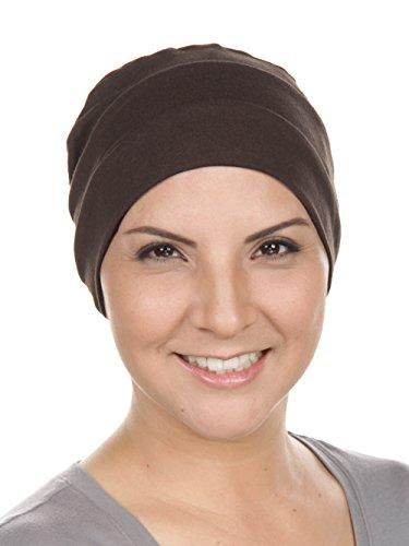 Brown Headwear - Chemo Cap Womens Cotton Beanie Sleep Turban Hat Headwear for Cancer Brown