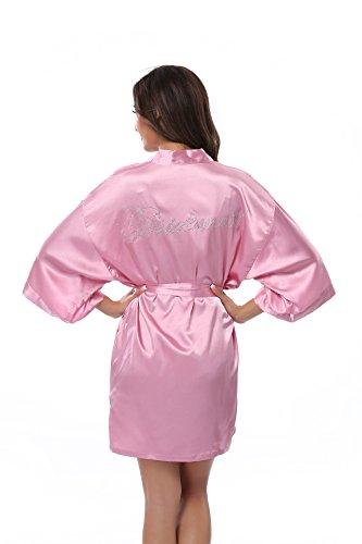Women's Satin Rhinestone Short Wedding Kimono Robe for Bridesmaid, Pink-Purple XS