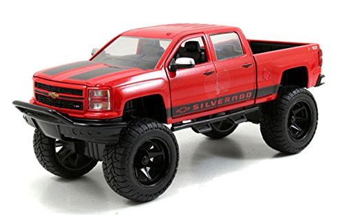 (Jada Toys 2014 Chevy Silverado Pickup Truck Collectible Diecast Model Car Red)