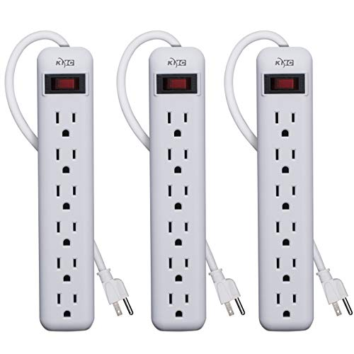 KMC 6-Outlet Power Strip 3-Pack, Overload Protection, 3-Foot Cord, White by KMC (Image #4)