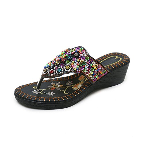Heel Toe 5 White Black cm Wedge Heel Beaded 6 Flops Open Cm 5 Shoes Woman Colorful vovmi Heel 5 qfwFXSaF4