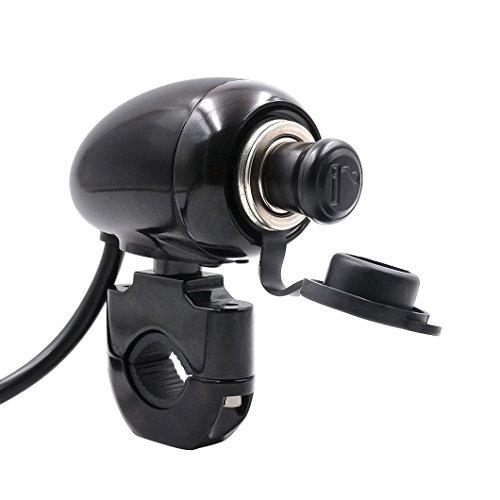 Usstore 12V Motorcycle Handlebar Cigarette lighter Mount Marine Volt Power Outlet (Black)