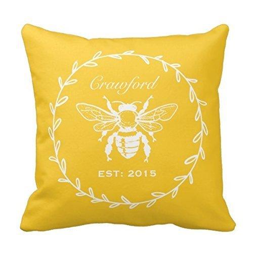 Decors Vintage Yellow Honey Bee Laurel Honeycomb Monogram Th
