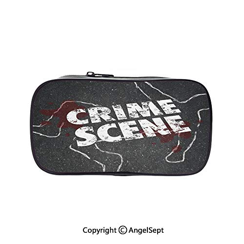 Big Capacity Pencil Case 1L Storage,Crime Scene Words on Outline of Victim Homicide Bloody Killing Decorative Charcoal Grey Maroon White 5.1inches,Desk Pen Pencil Marker Stationery Organizer with Zip (Zip Outline Pull)