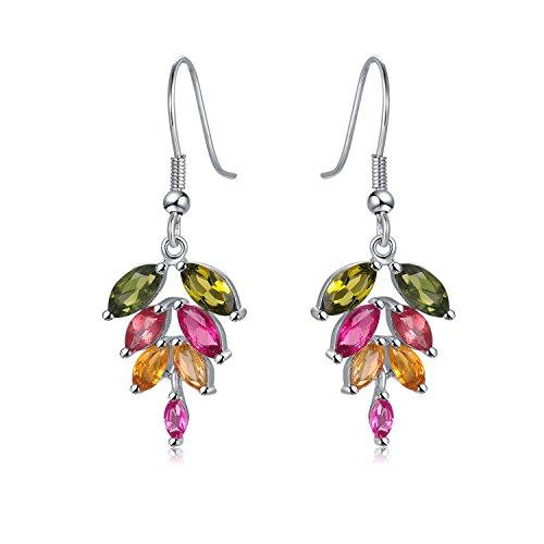 COLORFEY Sterling Silver Drop Earrings Leaf Natural Gemstone Tourmaline Dangle Earrings Jewelry Set For Women (Multi Coloured Gemstone Earrings)