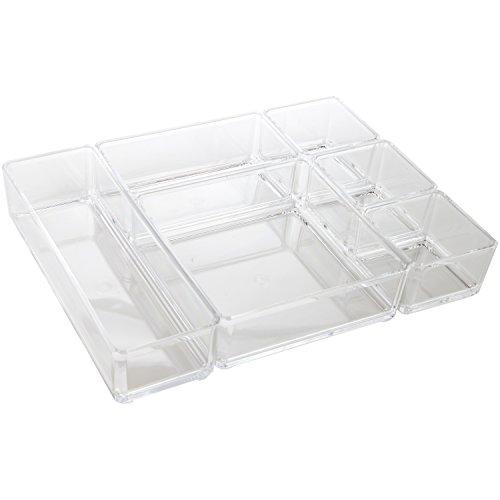 ARAD Clear Acrylic Office Tool Craft Organizer Set, Desk Drawer Organizer, 6 Pieces