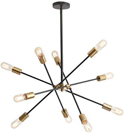 NEWSEE Sputnik Chandeliers,10-Lights,Mid Century endant Lighting,Black Modern Chandelier,Ceiling Light Fixture Gold,for Living Room Dining Bedroom Kitchen