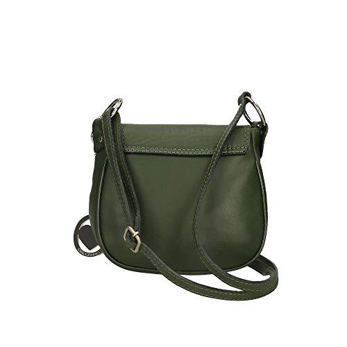 Chicca Verde 19x17x6 embrague cm Bolso genuina en in hombro Italy Piel Made de Borse de Tr76TB