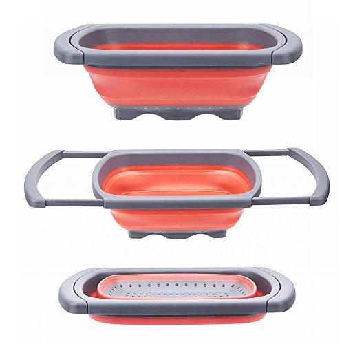 Glotoch Kitchen Collapsible Colander, Over The Sink Strainer With Steady Base For Standing, 6-quart Capacity, Dishwasher-Safe,BPA Free (Red&Grey) (Red&Grey)