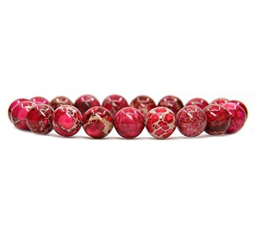 Rose Healing Cat Stone (Amandastone Rose Sea Sediment Jasper Genuine Semi-Precious Gemstones Healing 10mm Beaded Stretch Bracelet 7