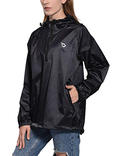 (Baleaf Women's Waterproof Rain Jacket Poncho Coat Waterproof Outdoor Raincoats Black L)