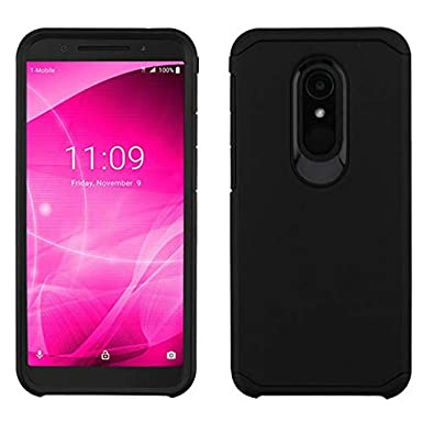 T-Mobile REVVL 2 Case with Tempered Glass Screen Protector,IDEA LINE Heavy Protection Hybrid Hard Shockproof Slim Fit Cover - Black