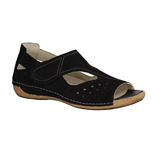 Waldlaufer Womens Denver Heliett Black Leather Sandals 40.5 EU