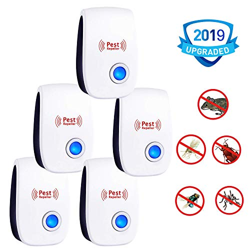 PERELER Ultrasonic Pest Repeller 2019 Newest Pest Control Ultrasonic Repellent - 5 Packs Electronic Pest Rpeller Plug in Indoor Mouse Repellent - Best Pest Controller for Mice,Mosquito,Insects,Spider