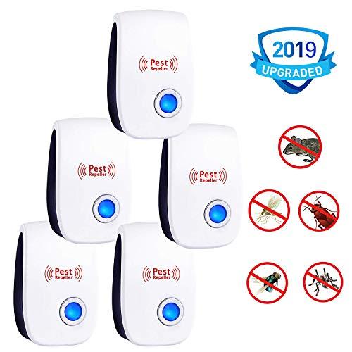 PERELER Ultrasonic Pest Repeller 2019 Newest Pest Control Ultrasonic Repellent - 5 Packs Electronic Pest Rpeller Plug in Indoor Mouse Repellent - Best Pest Controller for -