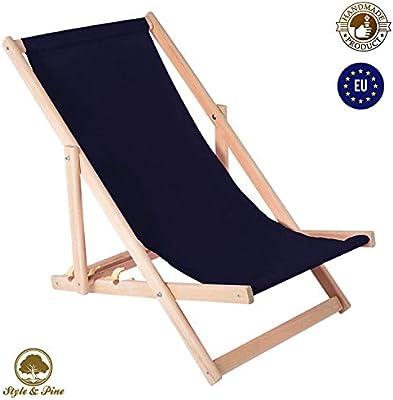 Amazinggirl Tumbona Plegable de Madera - Relax Tumbona para jardín para balcón Silla de Playa con Funda de Tela Intercambiables Negro