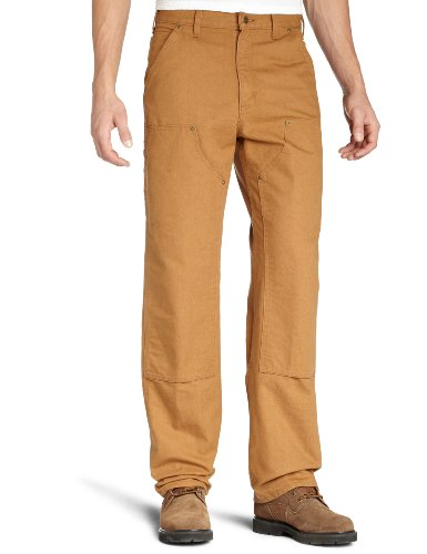 (Carhartt Men's Washed duck double front dungaree,Brown,33W x 32L)