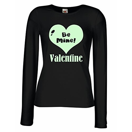 lepni.me T Shirts For Women Long Sleeve Be My Valentine - Love You Quotes, Great ST. Valentines Day Gifts (Medium Black Fluorescent)