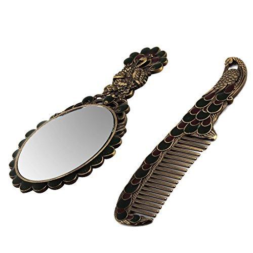eDealMax Peacock Motif Lady Vintage Style Strass dcor miroir de maquillage peigne 2 en 1