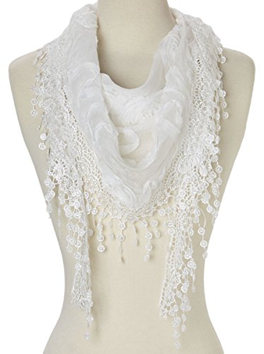 Cindy and Wendy Lightweight Triangle Floral Fashion Lace Fringe Scarf Wrap for Women (White)