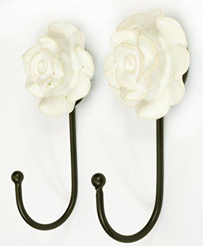 Pair 2 Pcs Metal Ceramic Wall Door Coat Hanger Hook Rose Flower Theme Heavy Duty - Rose Hook