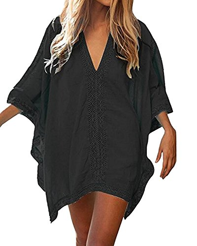 Kidsform Women Cover Up Swimsuits Oversized Bathing Suit Bikini Swimwear Summer Beach Tunic Dresses Black 2XL