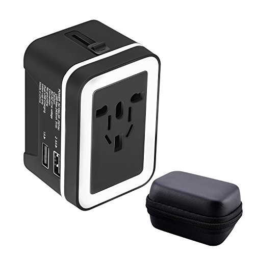 Travel Adapter,Universal International All-in-One Worldwide Travel Adaptor Wall Charger AC Power Plug Adapter Charger with Dual USB Port 2.4A For USA UK EU AUS, Gift Pouch Included