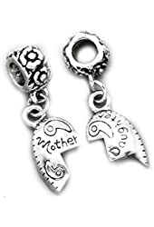 """Set of 2 Pcs """" Heart w/ Mother & Daughter """" Dangle Charms Bead For Snake Chain Charm CharmCharm Bracelet"""