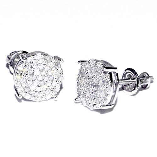 10k White Gold Diamond Earrings 8mm Wide Round Cluster 1/5cttw Screw Back ()