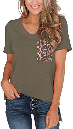 Womens Short Sleeves Casual Loose V Neck T Shirts Basic Tops Leopard and Sequin Pocket Army Green S