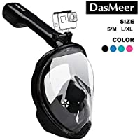 Full Face Snorkel Mask,DasMeer Seaview 180°GoPro Compatible Mask with Adjustable Head Straps & Easy Breathing & Anti-Fog…