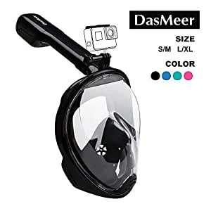 Full Face Snorkel Mask,DasMeer Seaview 180° Sports Camera Compatible Mask with Adjustable Head Straps & Easy Breathing & Anti-Fog Anti-Leak Panoramic View Snorkeling Mask for Adults or Kids
