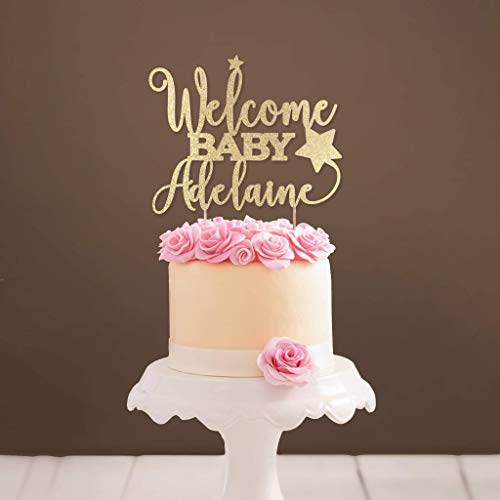 Personalized Star Welcome Baby Cake Topper Baby Shower Cake Topper Gold Glitter Baby Topper Custom Baby Cake Topper ()