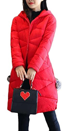 Coat M Hooded Down Red Womens Mid Jacket Overcoat Quilted amp;W Length amp;S Slim Fr1Fqv