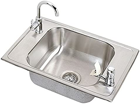 elkay psdkrc2517c pacemaker stainless steel 25 inch x 17 inch top mount single basin classroom sink with faucet