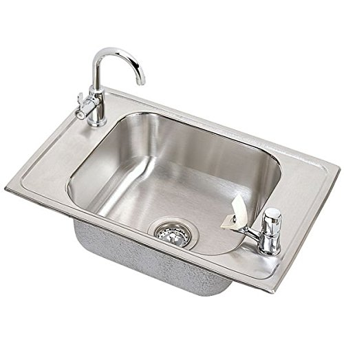 Sink Classroom Bowl Elkay Single (Elkay PSDKRC2517C Pacemaker Stainless Steel 25-Inch x 17-Inch Top-Mount Single Basin Classroom Sink with Faucet)