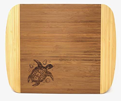 All Things Sea Turtles Two-Tone Bamboo Cutting Board, Sea Turtle, 10.5 x 13