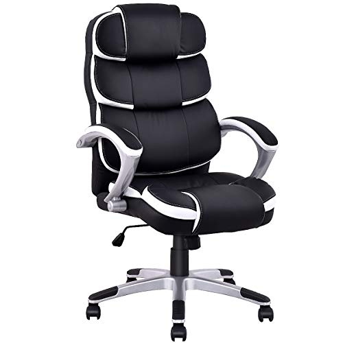 Giantex Office Chair Executive Computer Desk Chair PU Leather Ergonomic High Back Height-Adjustable Task Chair with Swivel Wheels and Breathable Cushion (Black)