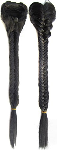 SWACC Long Fishtail Braid Ponytail Extension Synthetic Clip in Drawstring Ponytail Hairpiece (Off Black-1B#)